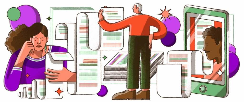 Ilustração de diferentes pessoas olhando preocupadas papéis quilométricos com linhas escritas.