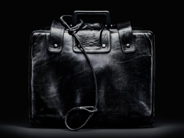 """A retired """"nuclear football"""" suitcase, from which the President can authorize a nuclear attack. Photo credit: Smithsonian Institute/Jamie Chung, via Wikimedia Commons."""