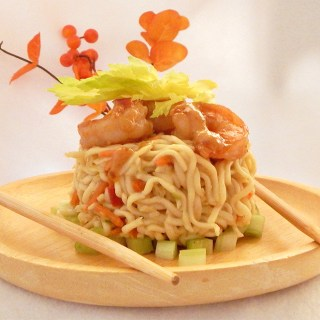 Noodle Nests with Turmeric Ginger-Spiced Shrimp
