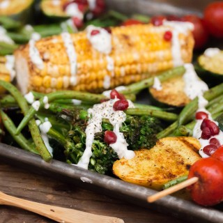 Grilled Veggies with Feta Dressing, Pomegranate