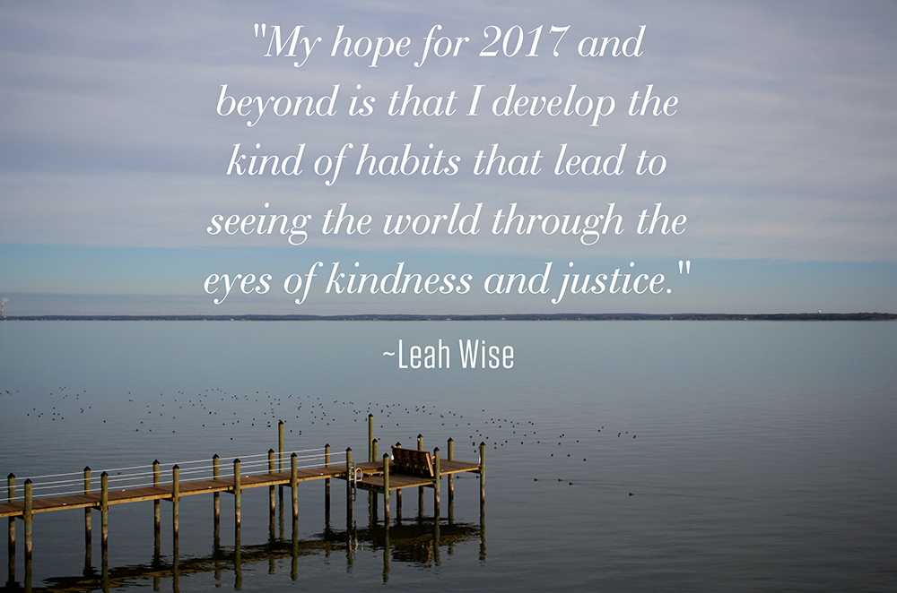 My hope for 2017 and beyond is that I develop the kind of habits that lead to seeing the world through the eyes of kindness and justice. ~Leah Wise