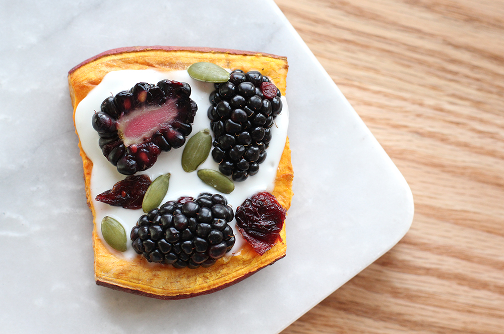 maple coconut cream sweet potato toast
