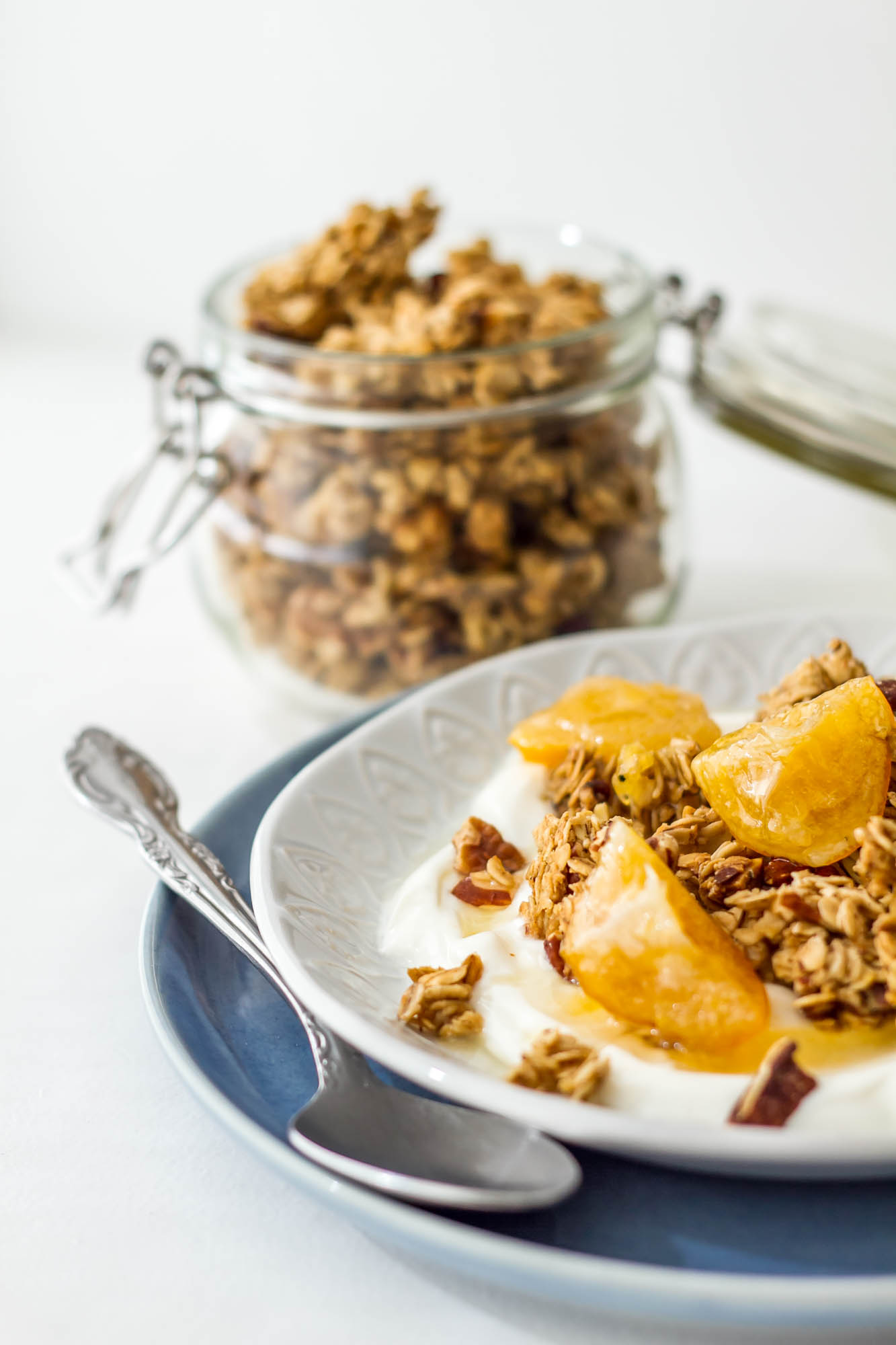 Rooibos Chai Granola with Greek Yogurt and Candied Meyer Lemons