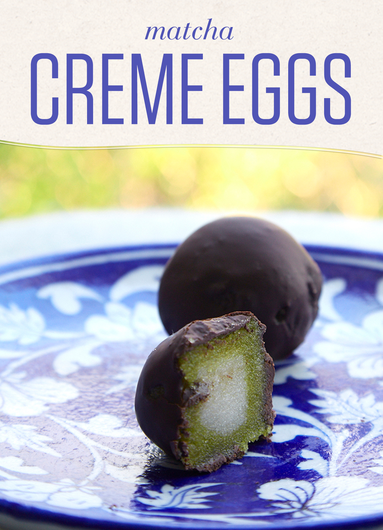 Cadbury Creme Eggs are a Spring classic. Try this ethically-conscious version with Fair Trade chocolate, antioxidant-rich matcha and no trace of palm oil.
