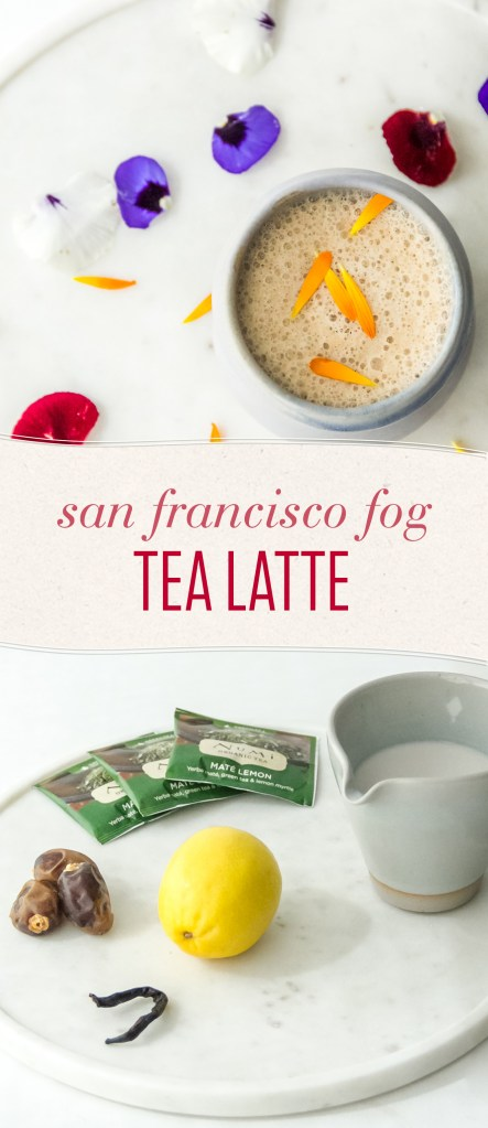 A thick layer of sweet almond milk envelops an earthy Mate Lemon tea base, fresh citrus, and sweet dates. The San Francisco Fog Latte is an ode to California -- Cable Cars and Golden Gate Bridge not included.
