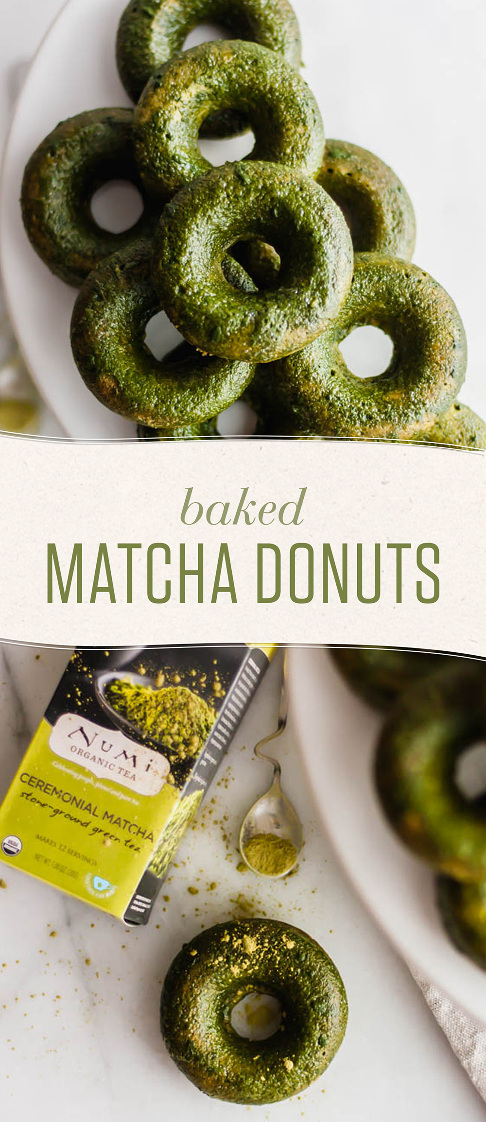 If you're not a matchaholic yet, you will be after trying these baked matcha donuts. Green tea is a healthful addition to your favorite treat!