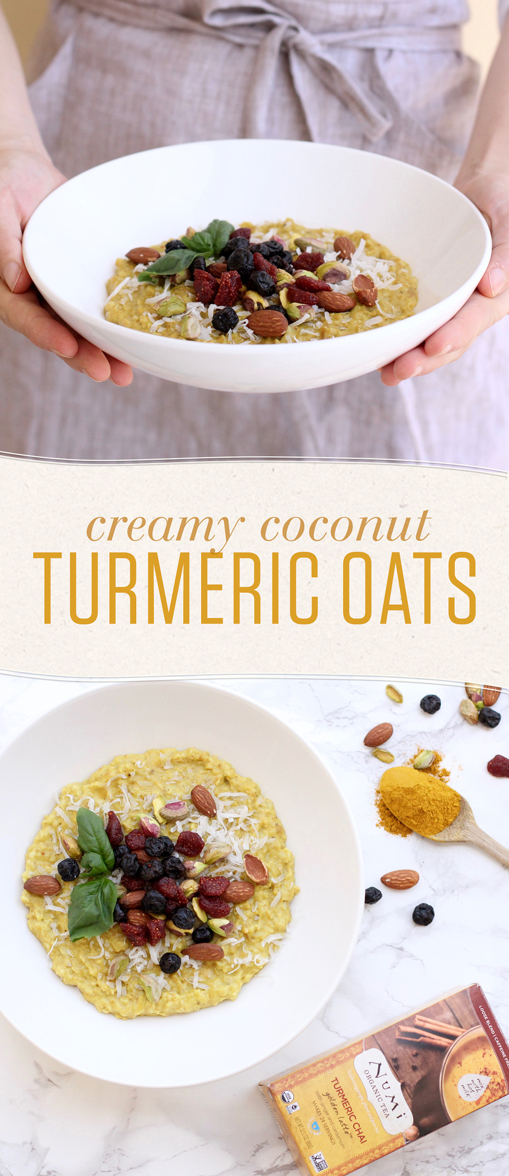 Spice up your breakfast! Turmeric Chai powder flavors this creamy, coconut milk-based oatmeal bowl that will bring sunshine to your morning.