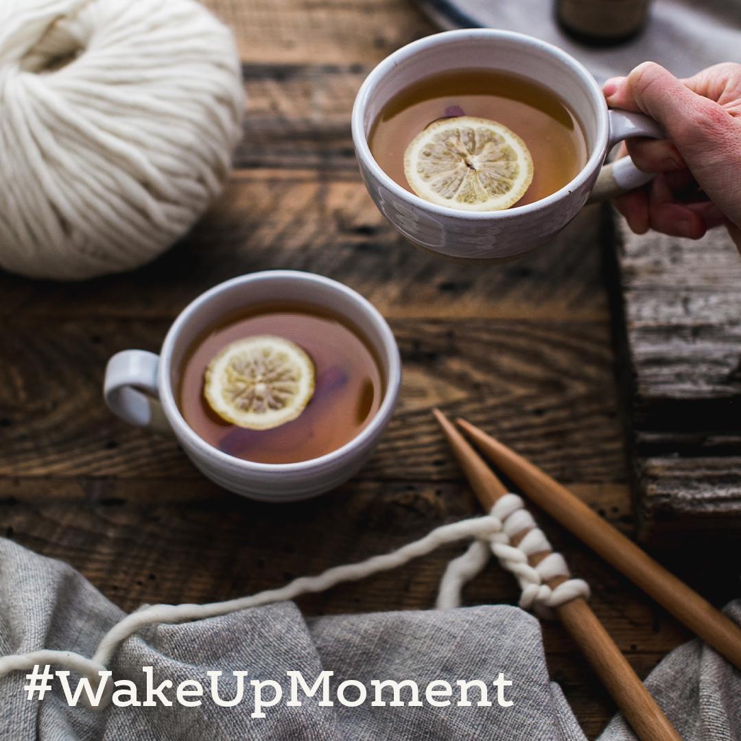 #WakeUpMoment still life with tea and yarn