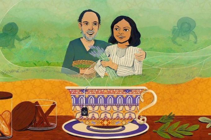 Ahmed Rahim and Reem Hassani with tea cup