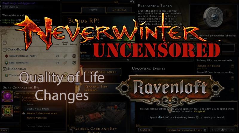Neverwinter Ravenloft QoL Roundups II: Enchantment Visuals, Retraining Changes, New Scaling & More!