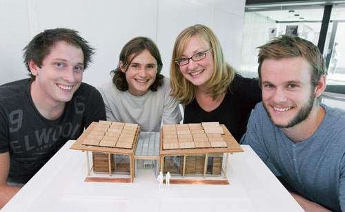 Solar Decathlon students Nick Officer, Ben Jagersma, Anna Farrow and Eli Nuttall