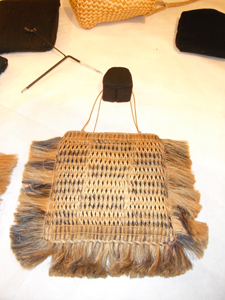Kete with interior padding and display supports. Image courtesy of Okains Bay Maori & Colonial Museum.