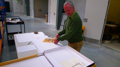 Grant working on the Don Peebles collection.