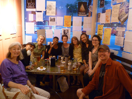 Hanging out at The Bar with some of AS220's fabulous staff. From left: Cynthia, Bert, Susan, Jackie, Ruth, Leigh, Aaron, Lara and Phil. You can read about their roles at: http://www.as220.org/about/staff/.