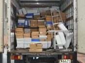 Truck load of Archive boxes moving into the Recovery Centre.