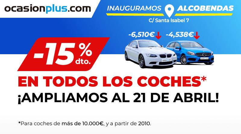 Ampliamos hasta el 21 de abril el 15% de descuento en coches de más de 10.000 euros
