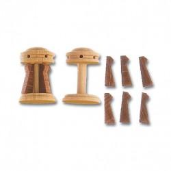 Cabestrante vertical + guardainfantes en boj y aletas de refuerzo en sapely de 15 mm de diámetro, 2 uds. Marca Artesanía Latina. Ref: 8580.