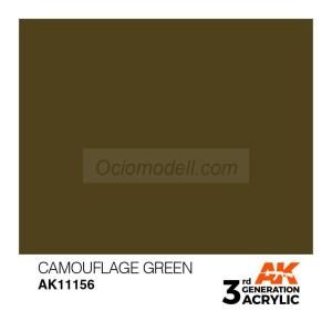 Acrílicos de 3rd Generación, CAMOUFLAGE GREEN – STANDARD. Bote 17 ml. Marca Ak-Interactive. Ref: Ak11156.