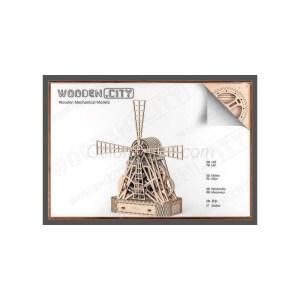 Molino de Viento, madera contrachapada, Kit de montaje. Marca Wooden City. Ref: 57307.