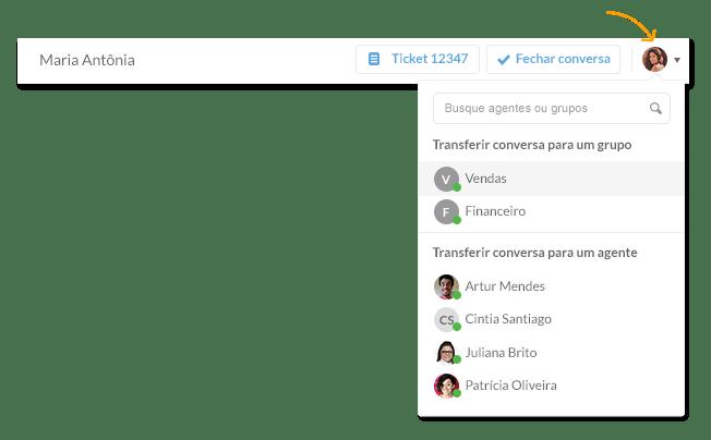 Chat para atender cliente - Transferência entre agentes