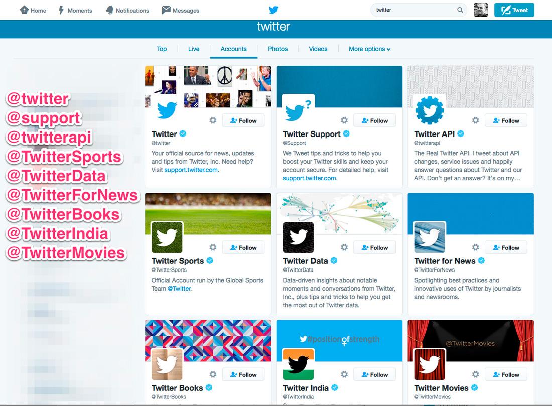 Twitter handle examples of good branding