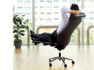 A comfortable office chair. This one reclines.