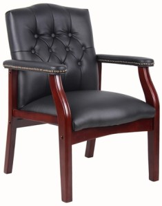 hardwood and leather visitor chair