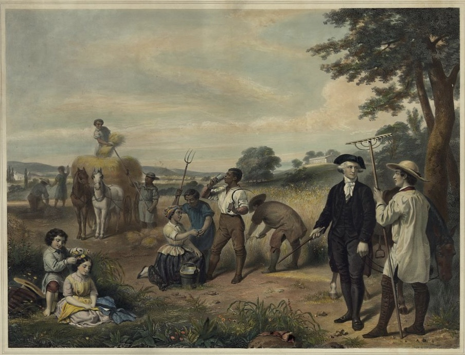 Washington standing among African-American enslaved field workers harvesting grain; Mt. Vernon in background. Life of George Washington--The farmer / painted by Stearns ; lith. by Régnier, imp. Lemercier, Paris, 1853.