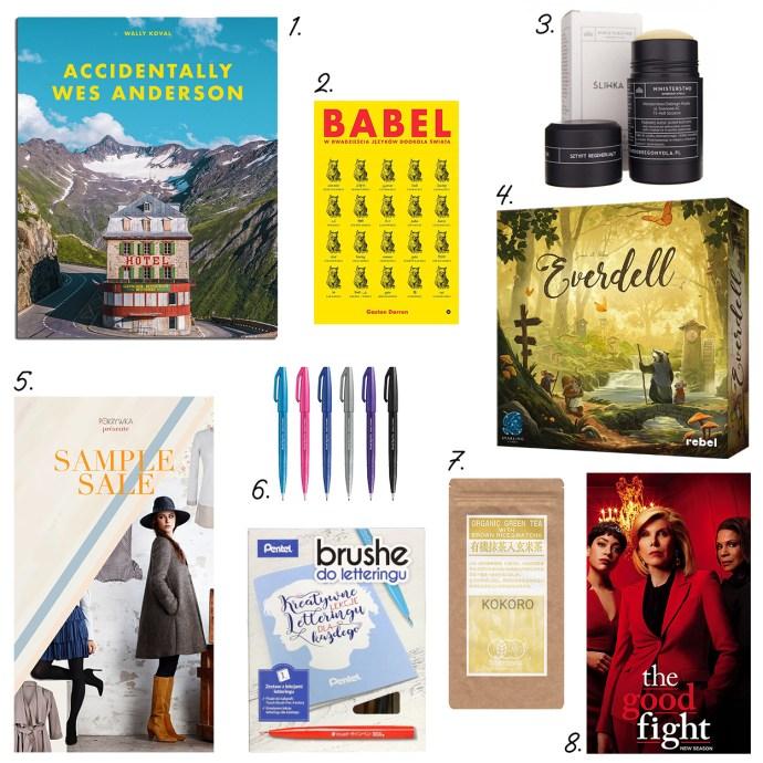 W lutym polecam: album fotograficzny Wes Anderson, książka o językach Babel, balsam o zapachu śliwki, marker do kaligrafii, lettering, wyprzedaż ubrań polski projektant, herbata prażony ryż genmaicza, serial Good Fight, piękna gra Everdell