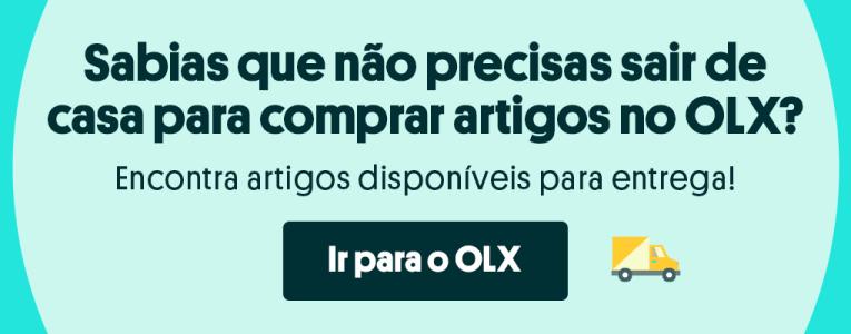 Banner com botão para as página de entregas do OLX sem ter que sair de casa.