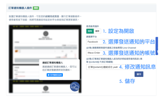 連結 Facebook Messenger、LINE 官方帳號 自動通知顧客訂單訊息 可自動帶入訂單編號