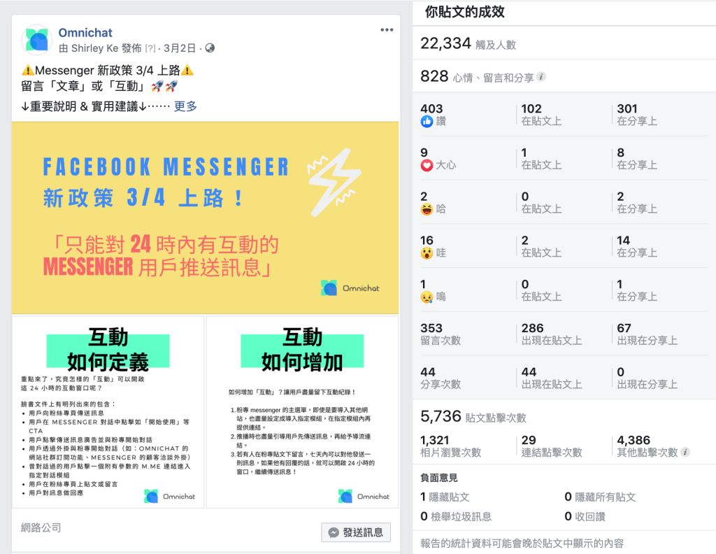Facebook Messenger 機器人發送訊息政策