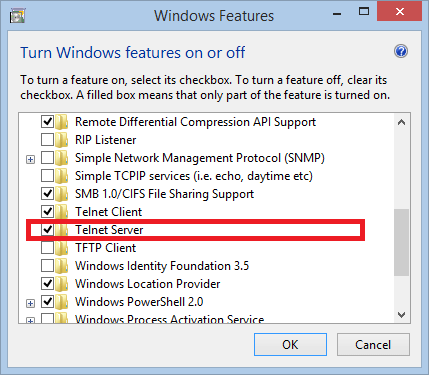 Windows Feature - Telnet Server