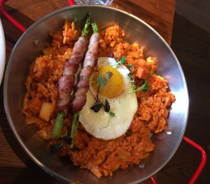 A classy serving of kimchi fried rice.