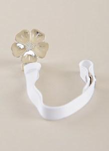 Silver Flower Pacifier Clip