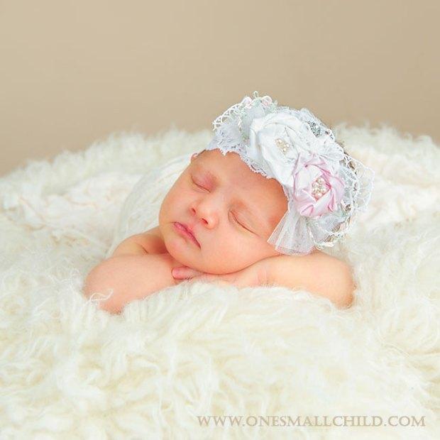 Jessa Christening Headband   Silk Rosette Headbands for Baby Girls