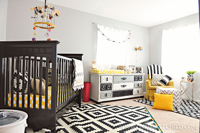 black grey gold baby boy room