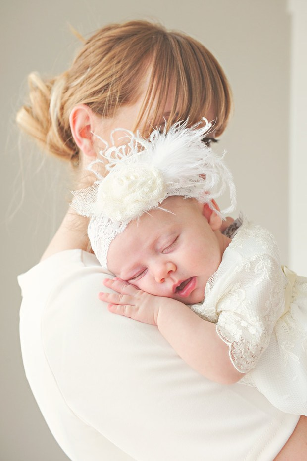 Ivory Lace Rosette Headbands | Baby Hair Accessories at One Small Child