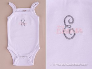 Love these personalized onesies with baby girl's name and initial embroidered on the front! So cute! | One Small Child: www.onesmallchild.com
