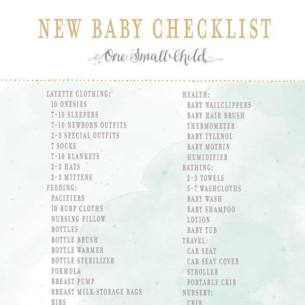 Free Printable New Baby Checklist From One Small Child