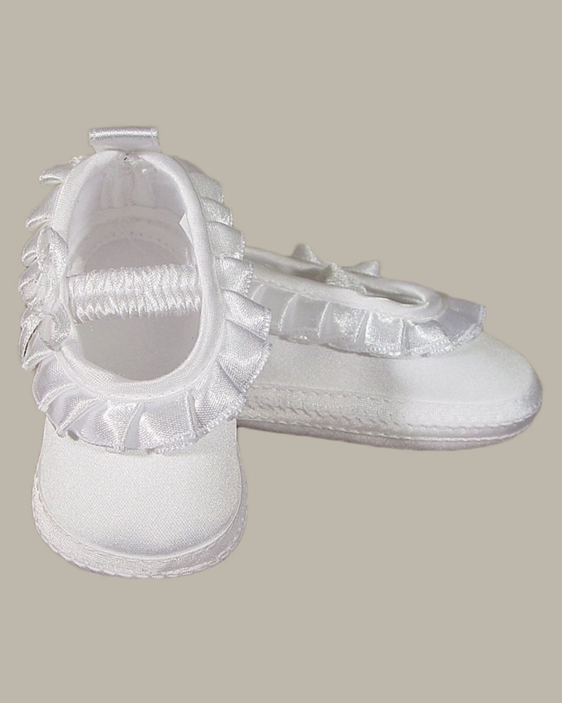 Baby Girls Satin Shoe with Pleated Ribbon