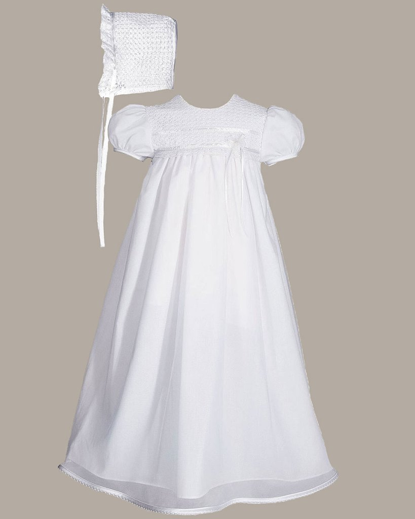 "Girls 25"" Tricot Overlay Christening Baptism Gown with Tatted Lace Bonnet"