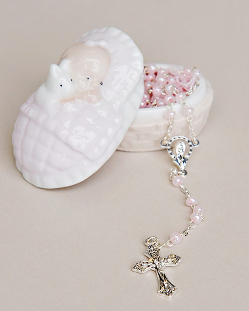 Girl Rosary & Porcelain Box Christening Gift Set