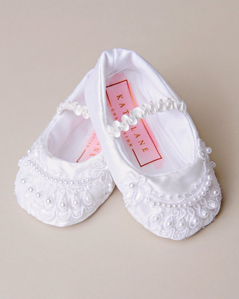 Cora Beaded Silk Christening Slipper