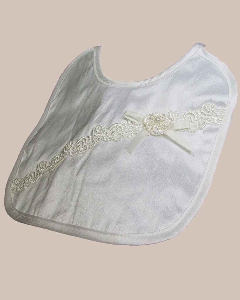 Silk Dupioni Bib with Flower