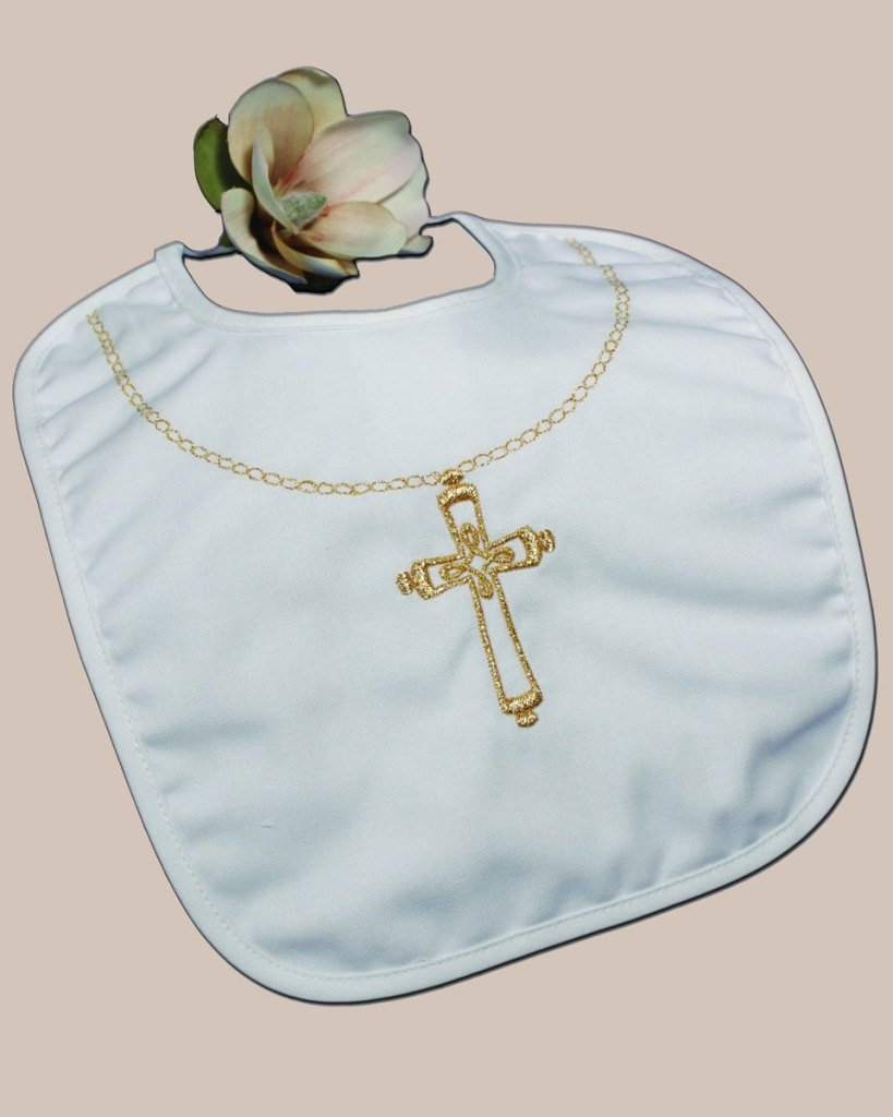 Cotton Christening Bib with Fancy Embroidered Gold Chain and Ornate Cross