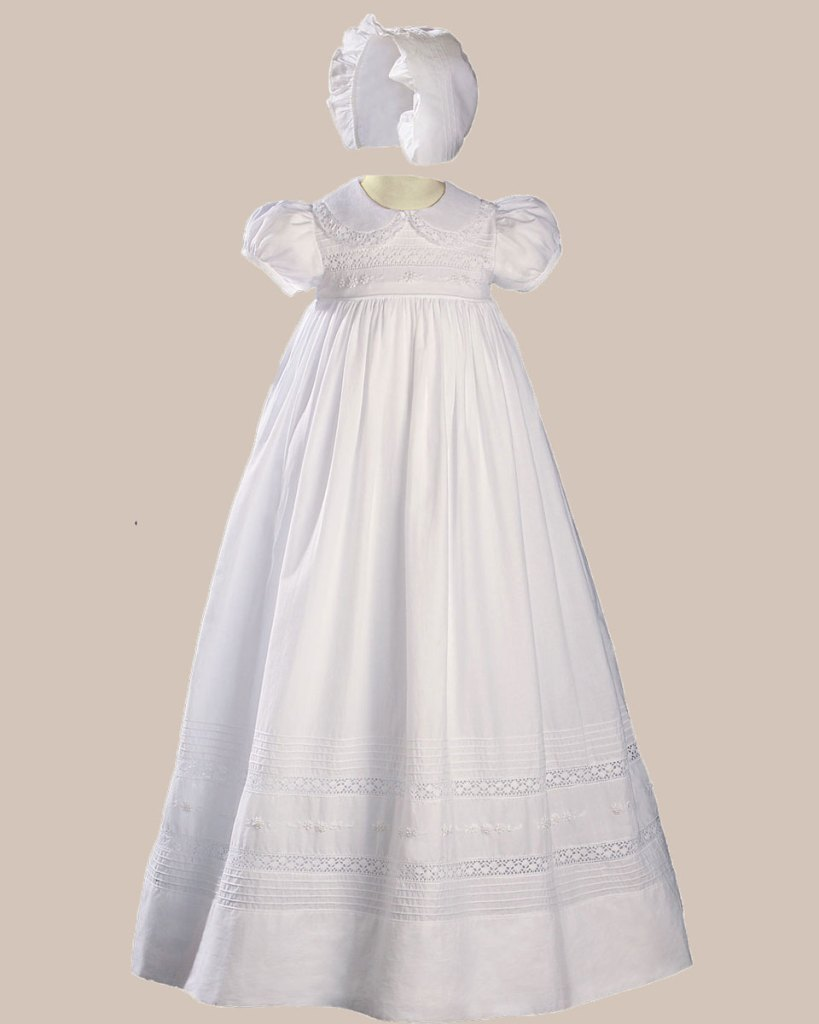 """Girls 33"""" White Cotton Short Sleeve Christening Baptism Gown with Hand Embroidery"""