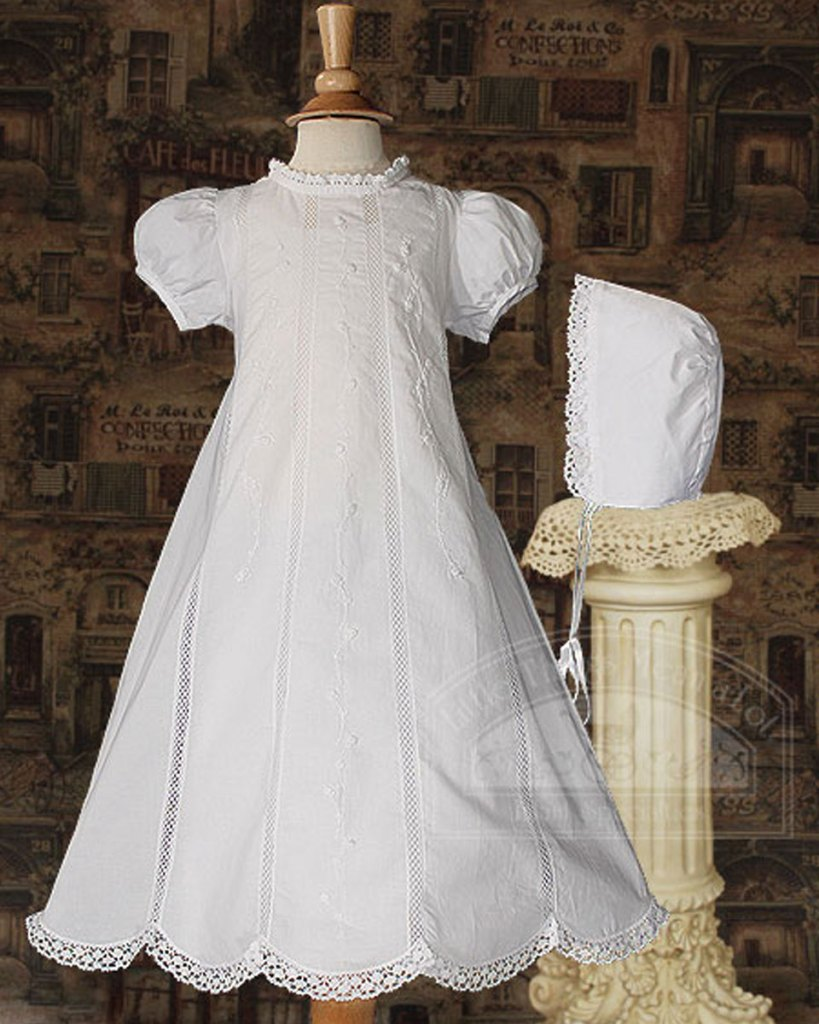"Girl 26"" Cotton Heirloom Christening Gown with Hand Embroidery and Lace"