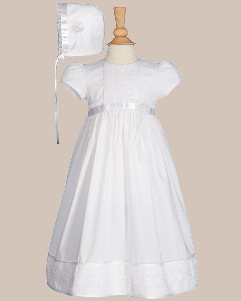 "Girls 23"" Cotton Christening Gown with Floral Lace Detailing"