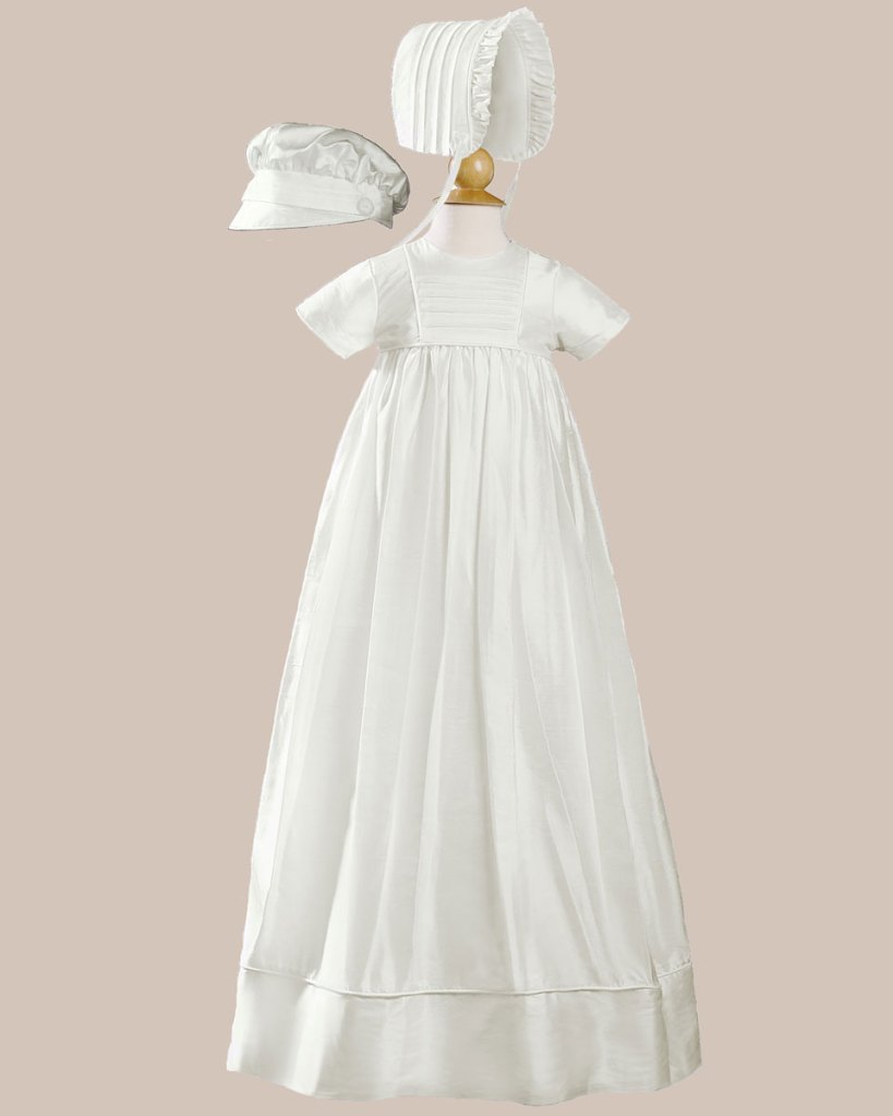 "Unisex 34"" Short Sleeve Silk Dupioni Christening Baptism Family Heirloom Gown"